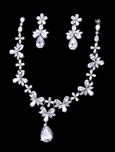 Silver Wedding Jewelry Beaded Zirconia Bridal Pendant Necklace Set With Clip Earrings фото
