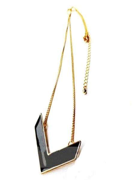 Black Pendant Necklace V Shape Women's Necklace Jewelry фото