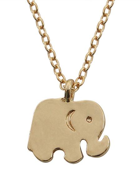 Elephant Pendant Necklace Gold Women's Chain Necklace Milanoo