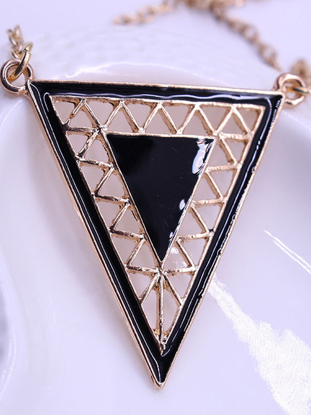 Women's Boho Necklace Alloy Triangle Pendant Necklace фото