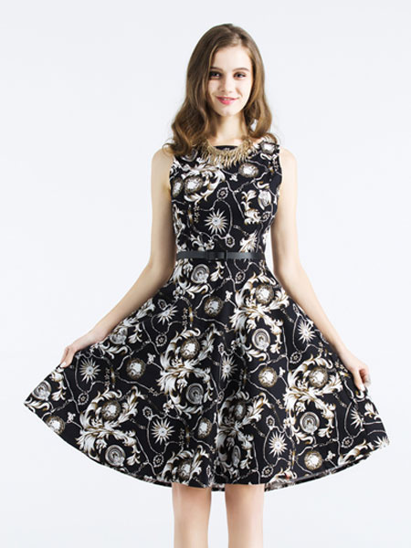 Black Skater Dress Women's Round Neck Sleeveless Floral Printed Flare Dress With Belt фото