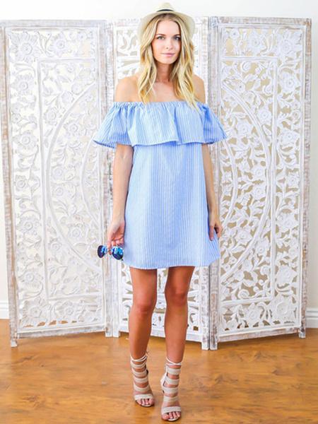 Blue Shift Dress Women's Off The Shoulder Short Sleeve Backless Stripes Cotton Linen Summer Dress фото