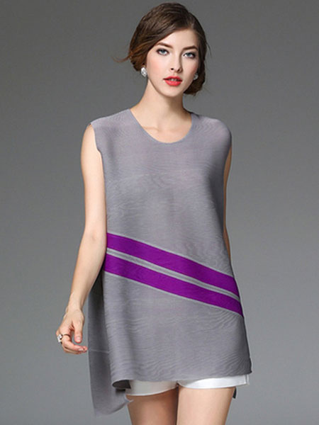Women's Summer Dress Sleeveless Two Tone Stripe Shift Dress фото