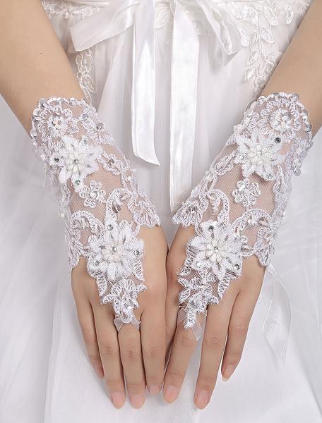 White Wedding Gloves Short Fingerless Lace Applique Flowers Beaded Bridal Gloves