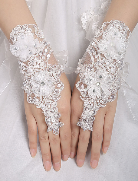 Short Wedding Gloves White Lace Applique Fingerless Beaded Lace Up Bridal Gloves фото