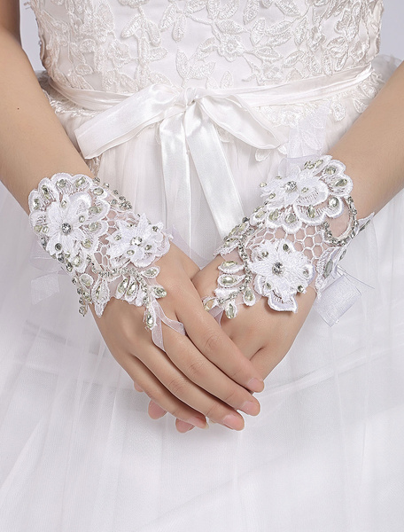 Short Wedding Gloves White Fingerless Flowers Applique Rhinestones Beading Organza Ribbon Bridal Glo