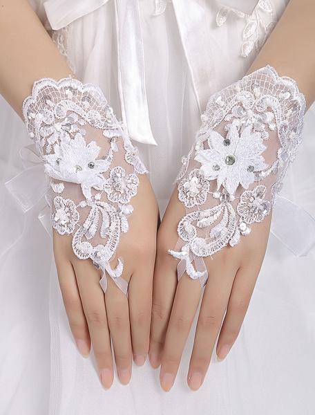 Blanc blouson court Organza Fingerless appliques de mariage perlée lacets de gants de mariée