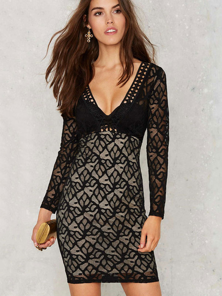 Black Lace Dress Women's Deep V Neck Long Illusion Sleeve Semi Sheer Sexy Bodycon Dress