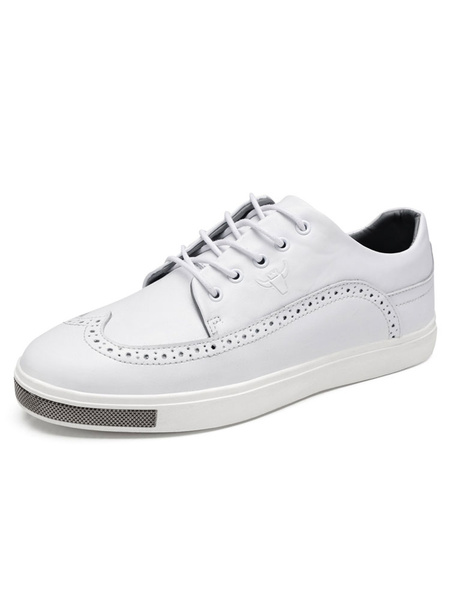 White Casual Shoes Leather Round Toe Lace Up Flat Shoes For Men фото