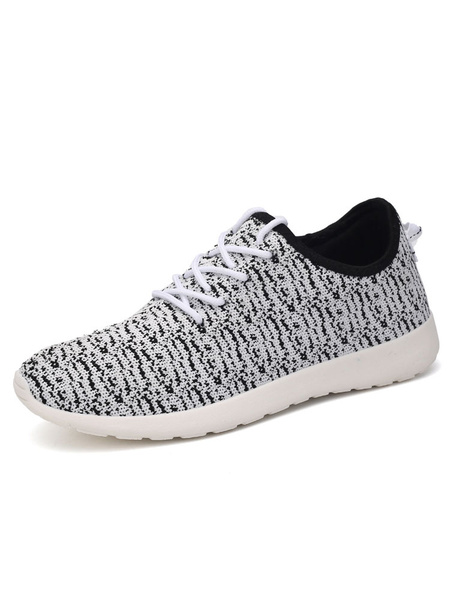 Grey Mesh Sneakers Men's Round Toe Lace Up Printed Athletic Shoes фото
