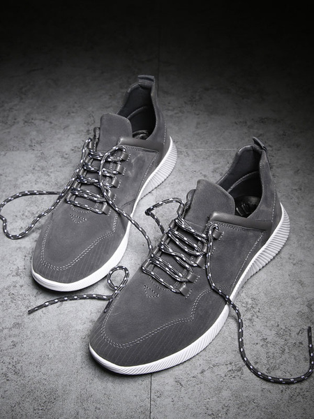 Suede Leisure Shoes Men's Grey Round Toe Lace Up Casual Shoes
