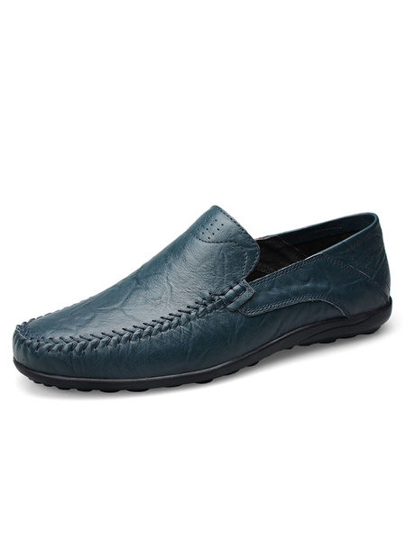 Men's Leather Loafers Atrovirens Round Toe Slip On Stylish Flat Shoes фото