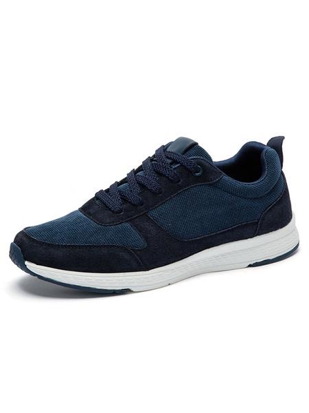 Голубые кожаные кроссовки мужская круглый носок шнуровке текстильная спортивная обувь