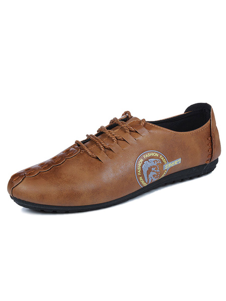 Brown Causal Shoes Men's Round Toe Printed Lace Up Flat Shoes