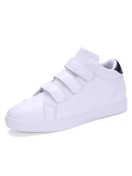 Men's Skate Shoes White Round Toe Velcro Detail Casual Shoes