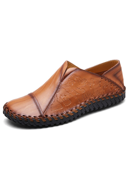 Men's Loafer Shoes Deep Brown Round Toe PU Flat Shoes