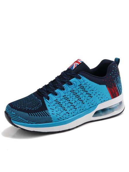 Сетка спортивная обувь мужская светло-синий круглый носок цвет блока шнурует вверх кроссовки