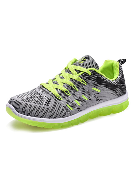 Men's Running Shoes Mesh Two Tone Round Toe Lace Up Sneakers