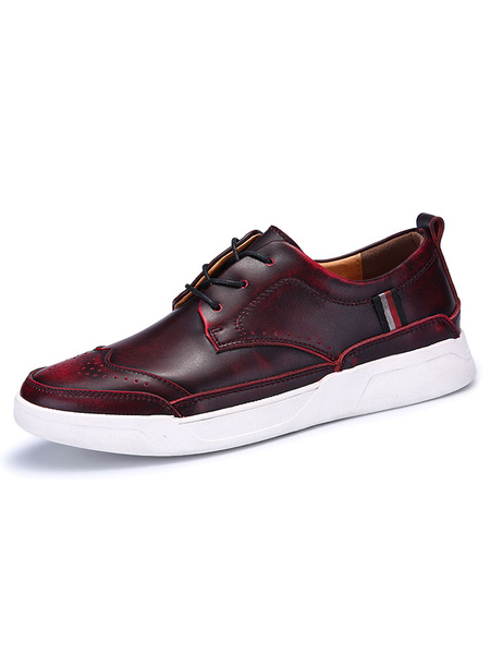 Leather Casual Shoes Men's Dark Red Round Toe Lace Up Flat Skate Shoes фото