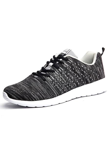 Черные мужские кроссовки эластичный круглый носок зашнуровать кроссовки