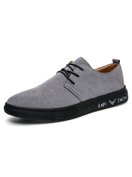 Suede Casual Shoes Men's Grey Round Toe Lace Up Skate Shoes фото
