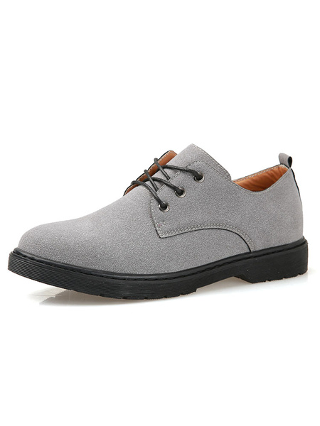 Suede Casual Shoes Men's Grey Round Toe Lace Up Flat Shoes