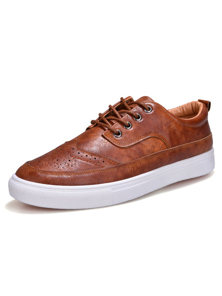 Brown Casual Shoes Men's Round Toe Lace Up Flat Shoes