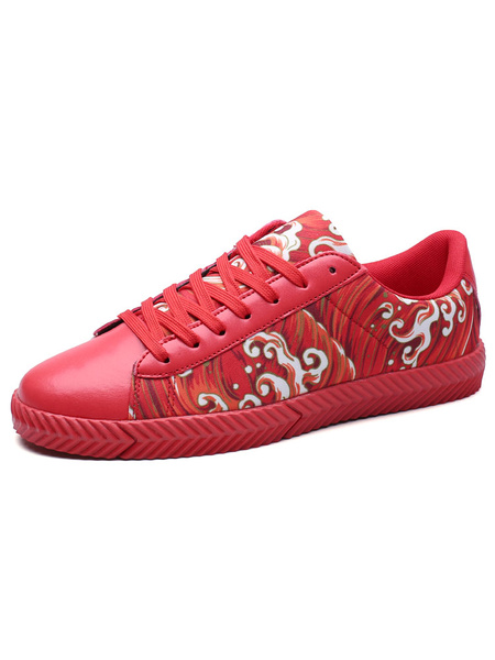 Red Casual Shoes Men's Ethnic Printed Round Toe Lace Up Flat Shoes