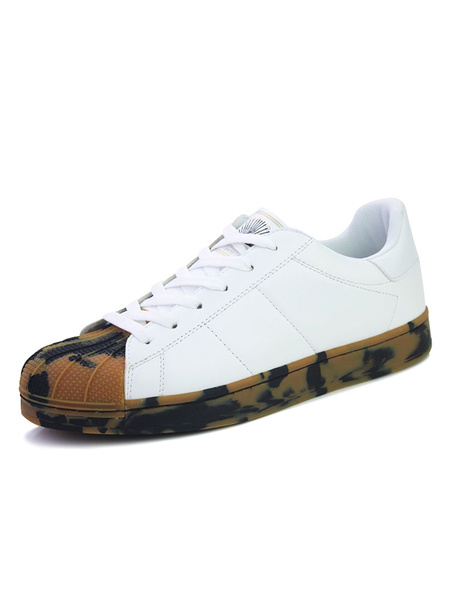 White Skate Shoes Round Shell Toe Camo Printed Lace Up Casual Shoes