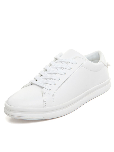 White Skate Shoes Men's Round Toe PU Lace Up Casual Shoes