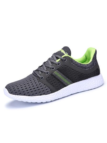 Сетка спортивная обувь мужская круглым носком зашнуровать сетки глубокий серый кроссовки