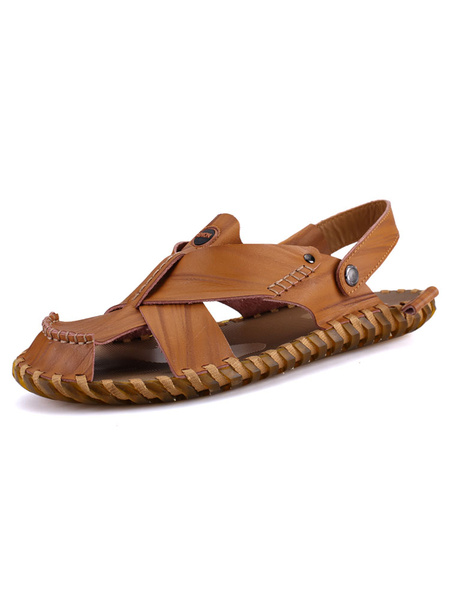 Men's Leather Shoes Light Brown Closed Toe Cut Out Slingback Two Way Flat Sandal Shoes
