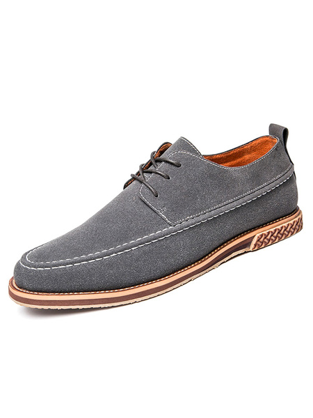 Grey Casual Shoes Suede Round Toe Lace Up Flat Shoes For Men фото