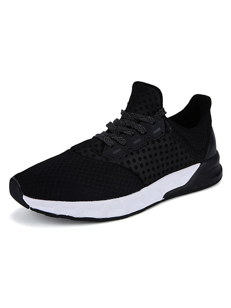 Black Men's Sneakers Mesh Round Toe Lace Up Trainers