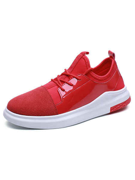 Red Men's Sneakers Suede Round Toe Patchwork Lace Up Casual Shoes фото