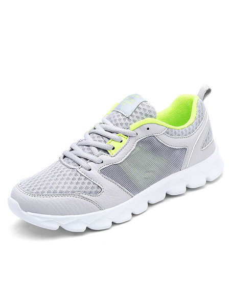 Men's Grey Sneakers Mesh Round Toe Lace Up Sport Shoes