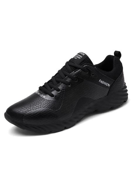 Черные мужские кроссовки круглый носок PU зашнуровать спортивная обувь