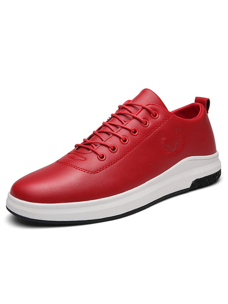 Men's Casual Shoes Red Round Toe Lace Up Flat Skate Shoes фото