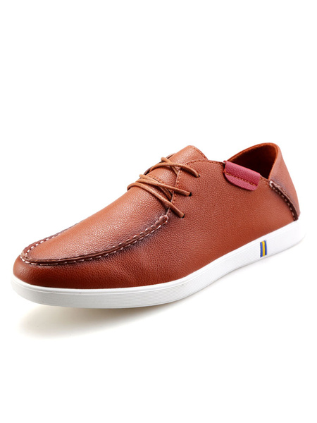 Brown Casual Shoes Men's Round Toe PU Lace Up Flat Shoes