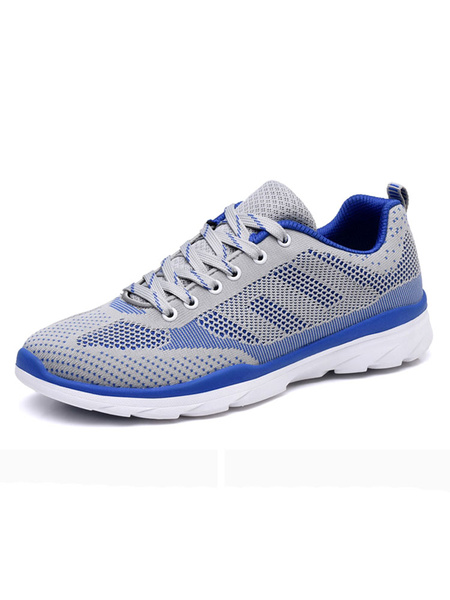 Men's Grey Sneakers Mesh Round Toe Lace Up Running Shoes