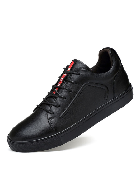 Leather Casual Shoes Men's Black Round Toe Lace Up Skate Shoes фото