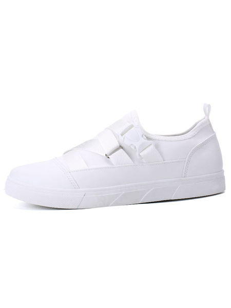 White Skate Shoes Men's Round Toe Bandage Detail Casual Shoes