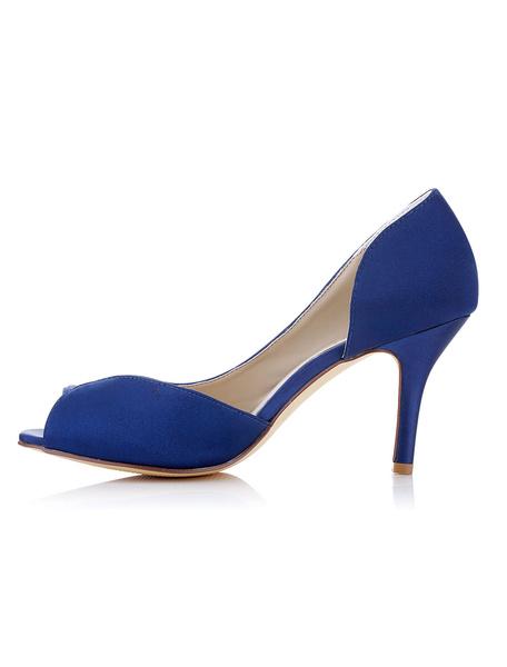 Blue Wedding Shoes Satin High Heel Peep Toe Slip On Bridal Pumps