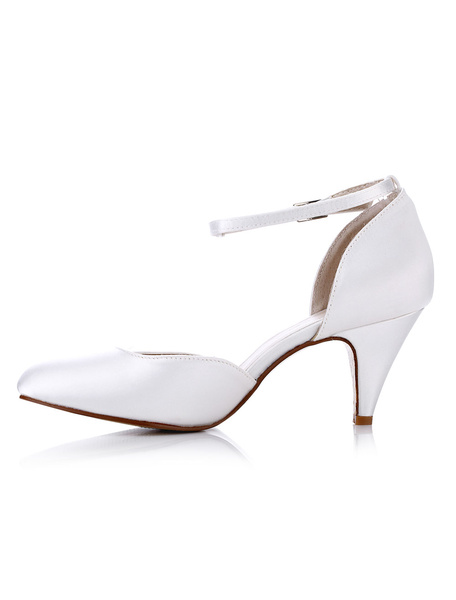 Ivory Wedding Shoes Satin Pointed Toe Buckled Kitten Heel Bridal Pumps