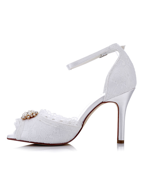 White Wedding Shoes Lace High Heel Peep Toe Pearls Beaded Ankle Strap Bridal Shoes
