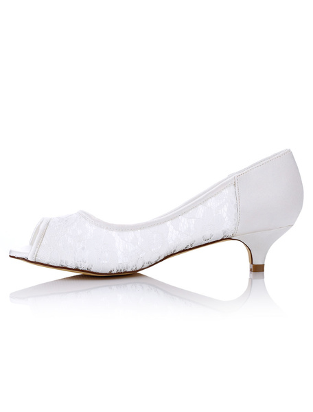 Lace Wedding Shoes Kitten Heel White Peep Toe Slip On Bridal Pumps фото