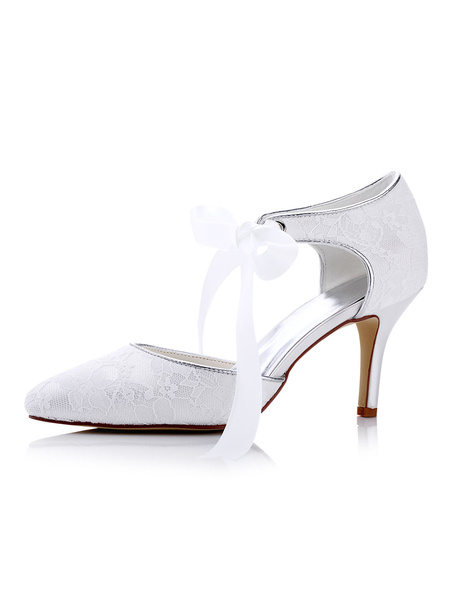 White Wedding Shoes Lace High Heel Pointed Toe Lace Up Stiletto Heel Bridal Shoes фото