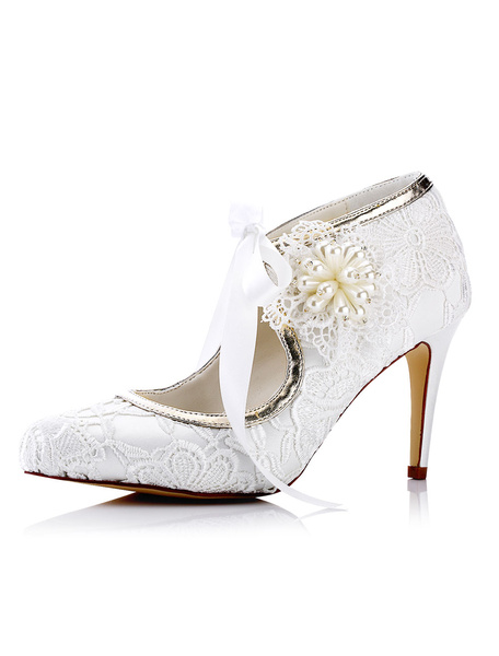 Lace Wedding Shoes White Pointed Toe Rhinestones Beaded High Heel Bridal Shoes фото