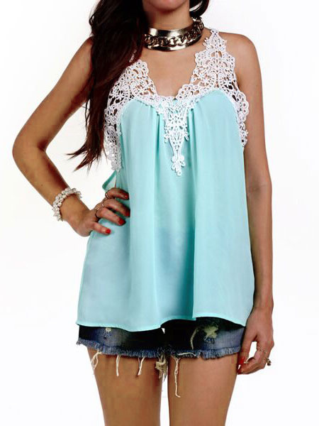 Women's Chiffon Blouse Lace Patchwork Light Green V Neck Pleated Cami Top фото
