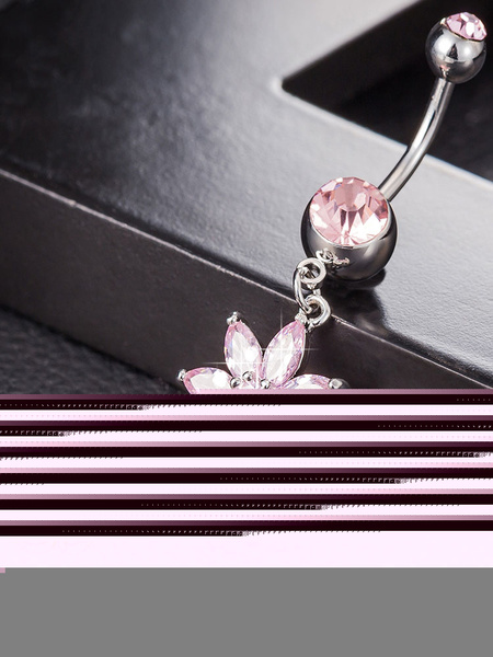 Belly Button Rings Pink Flower Dangling Cropper Chain Navel Jewelry фото